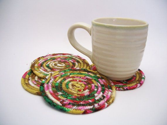 Multicolor Coiled Fabric Coasters - Set of 4 - Shabby Chic, Reversibl ...