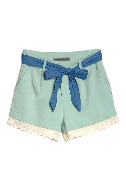 Lace Trimming Light-green Shorts