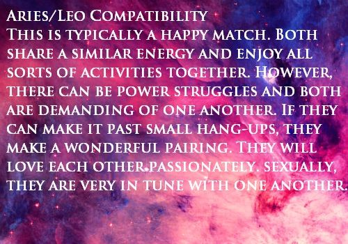 leo and aries love match Maybe you're not a true love match, according to your stars leo (july 23- august 22) is most likely going to be the best match for an aries, as leo is another.