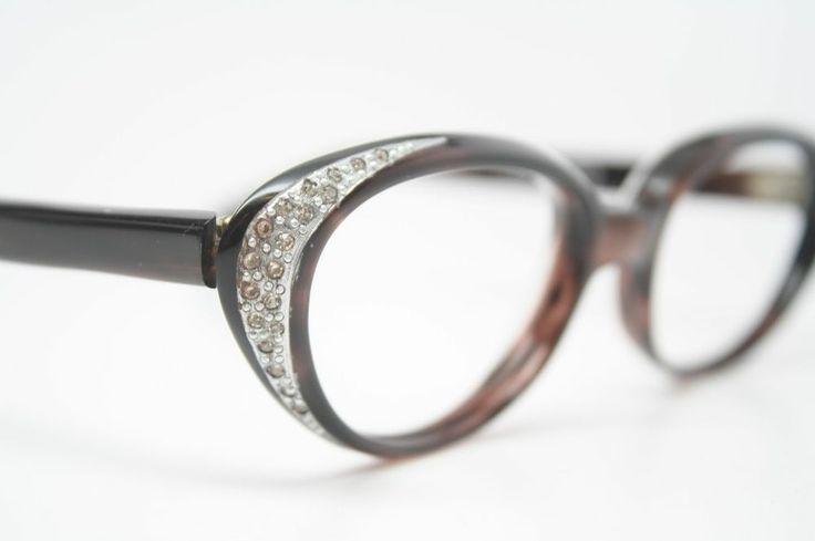 Cat Eye Rhinestone Eyeglass Frames : Rhinestone Vintage Cat Eye Glasses NOS Marble 1960s Retro ...