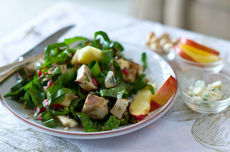 ... chicken-chard salad with blue cheese, apples, and pistachios. Enjoy