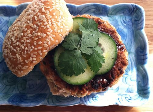 burgers with ginger garlic and soy sauce asian flare and topped with ...