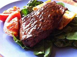 kangaroo fillet, spinach salad, fried haloumi and vine ripe tomatoes