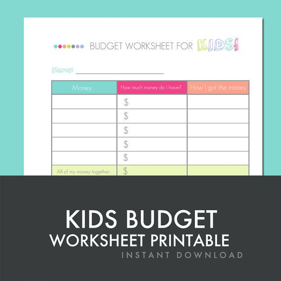Kids Budget Worksheet - Printable PDF - Personal Finance Worksheet ...