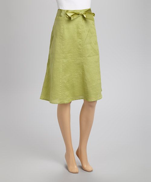 giorgiana by naji green ribbon linen a line skirt