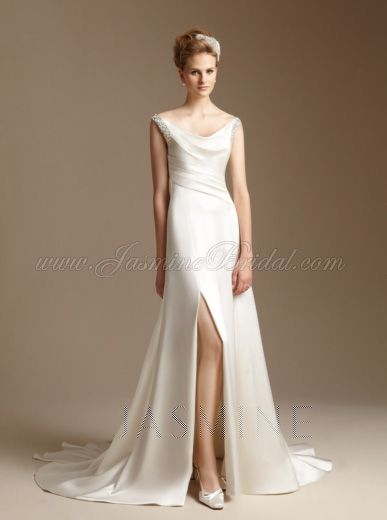 Simple Yet Stunning Wedding Dresses : Is beautiful simple yet elegant slit front wedding dresses