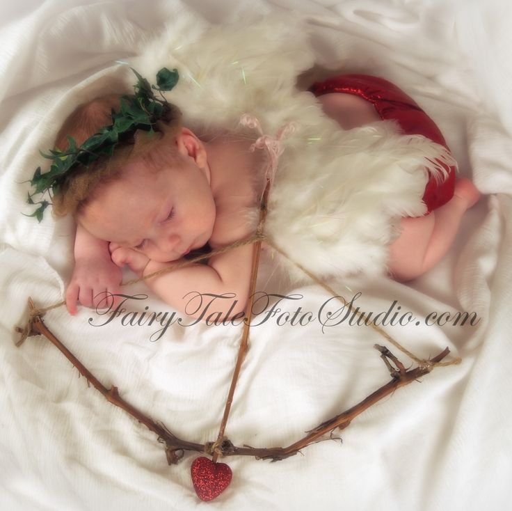 Sleeping 3 month old baby cupid newborn angel with cupids bow and arrow in costume