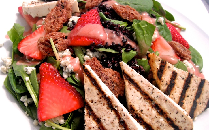 Strawberry and Spinach Salad with Lemon Grilled Tofu