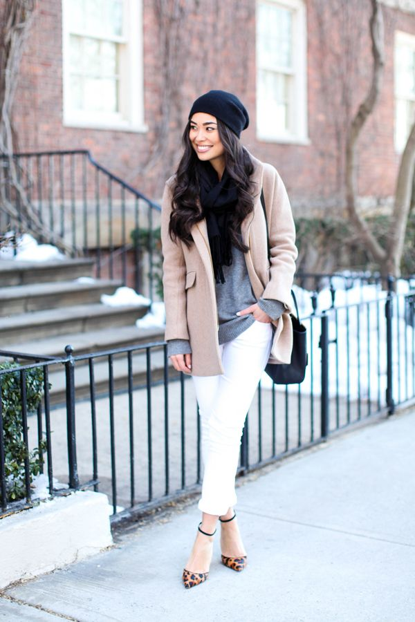 Winter outfit, white jeans, grey sweater, camel coat, navy scarf, hat, leopard heels