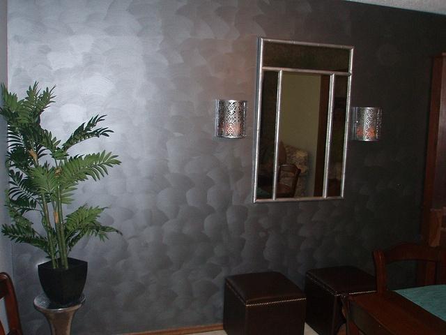 Wall Treatment With Metallic Paint Studio Apartment