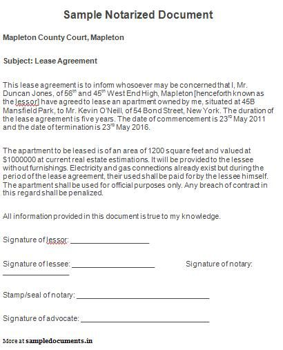 notarized documents sample