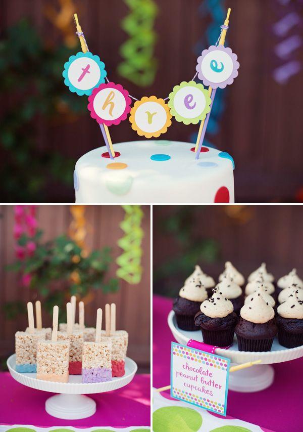 Polka dot rainbow paint themed birthday party for Polka dot party ideas