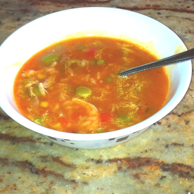 chicken asopao. Chicken Puerto Rican soup!!!! With green olives and ...