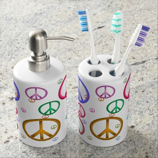 colorful peace signs bath accessories bath accessory set