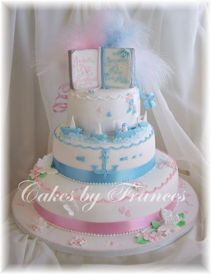 Christening Cake Designs For Twins : 3 tier Christening Cake for boy girl twins! Christening ...