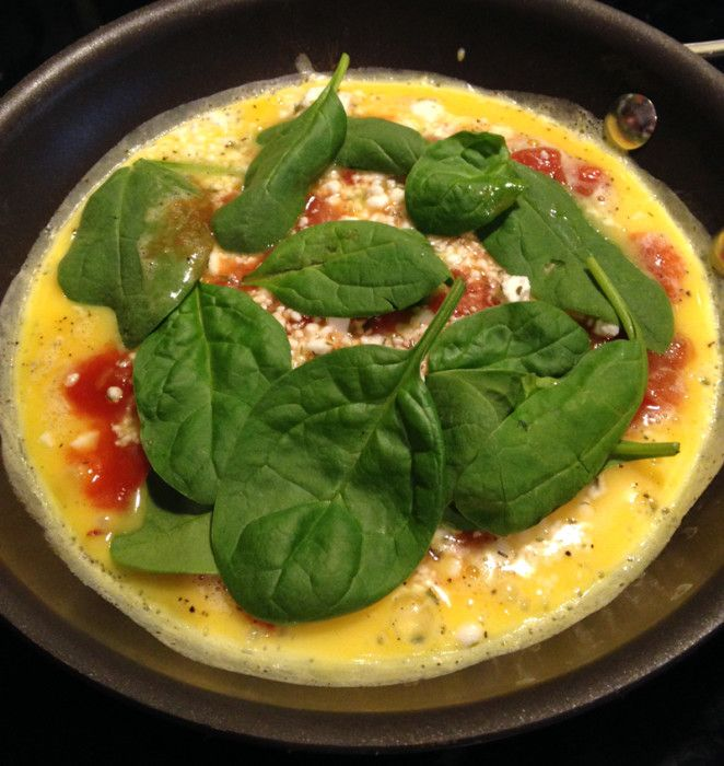 spinach, salsa and feta cheese omelette.