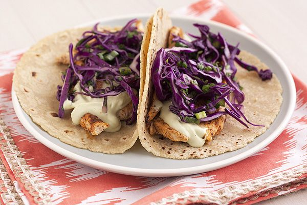 ... the Heat » Ancho Chicken Tacos with Cilantro Slaw & Avocado Cream