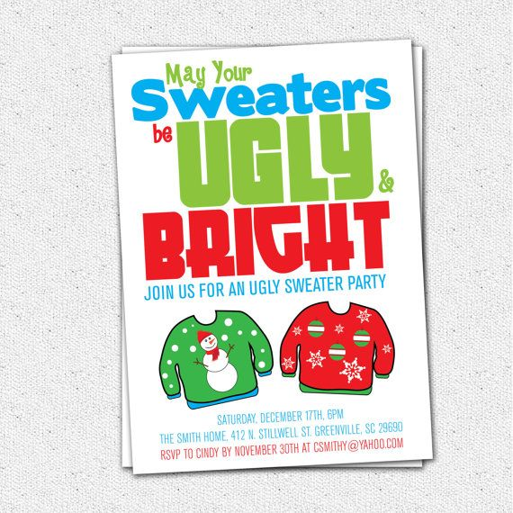 Ugly Christmas Sweater Invite Template Bronze Cardigan