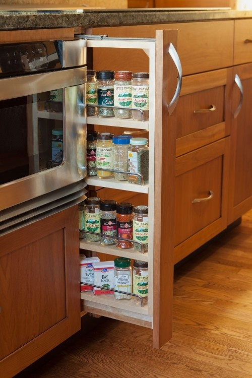 Narrow Spice Drawer Next To Oven Bottom Cabinet