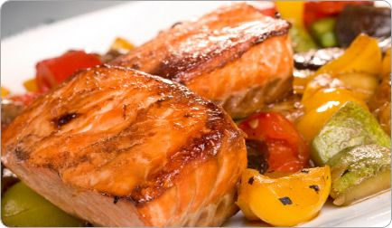 Pan-Sauteed Salmon Over Mediterranean Vegetables