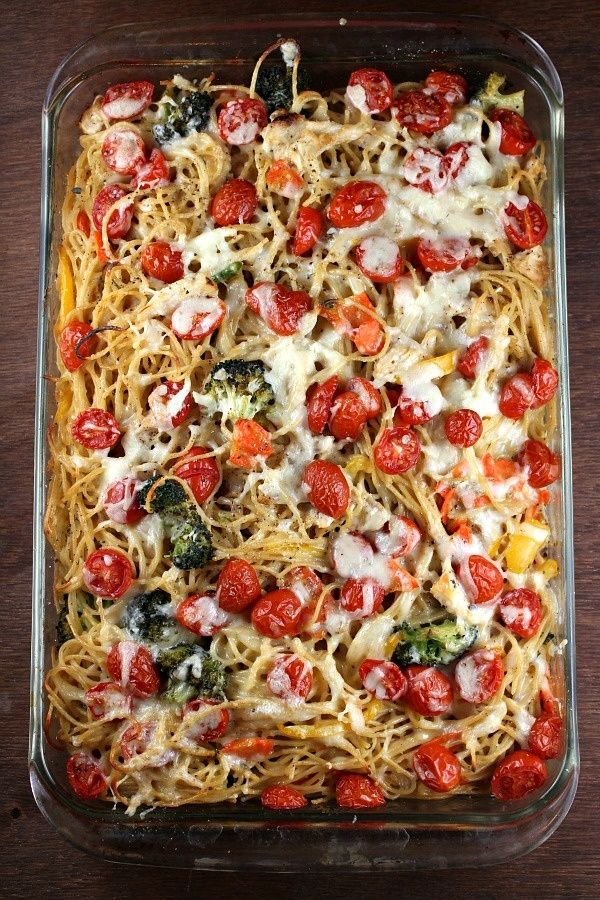Baked Lemon Chicken Spaghetti Primavera. | Food for thy Mouth | Pinte ...