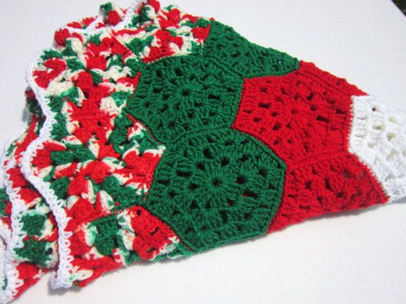 Crochet Xmas Tree Skirt : Christmas Tree Skirt Crocheted Granny Hexagons in Red Green and White