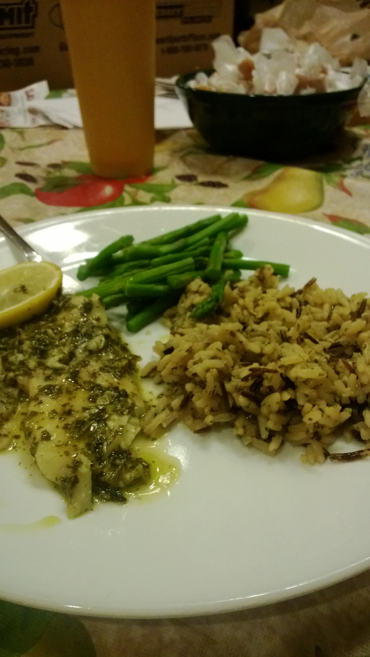 Baked Basil Pesto Tilapia. Mix 1/4 cup mayo with 1/3 cup pesto. Spoon ...