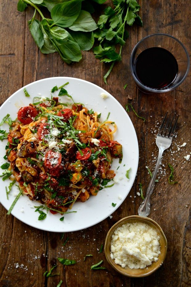 Roasted Ratatouille Pasta - oven- roasted vegetables/herbs mixed with ...