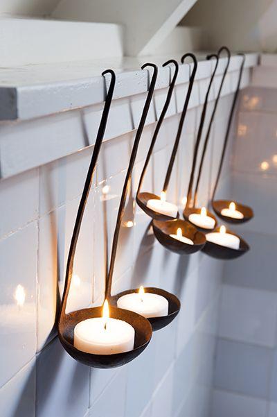 ladles as tea light candle holders