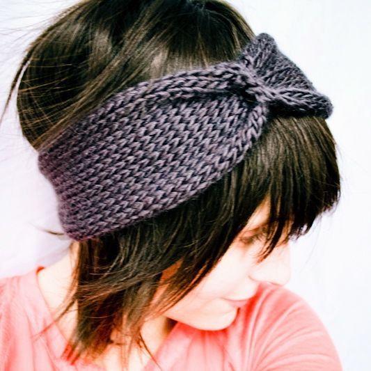 Knit Headband Turban - Cinched Headwrap - Gun Metal Grey