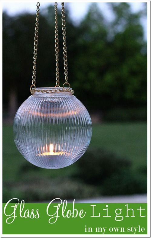 DIY Outdoor Light using a glass globe from a ceiling light fixture