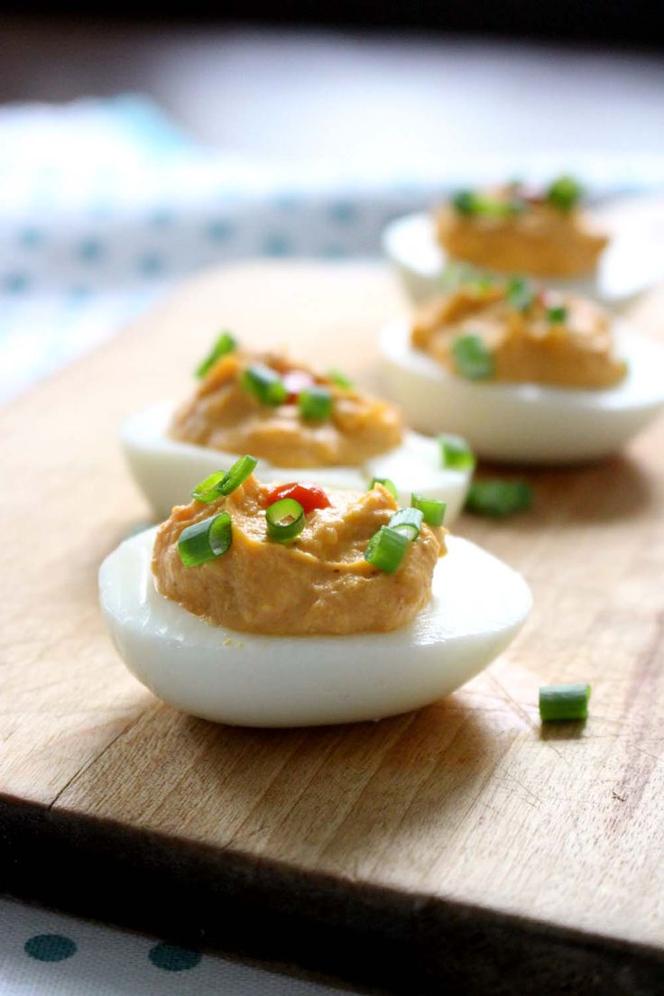 Sriracha Deviled Eggs   Traditional deviled eggs are made with the ...