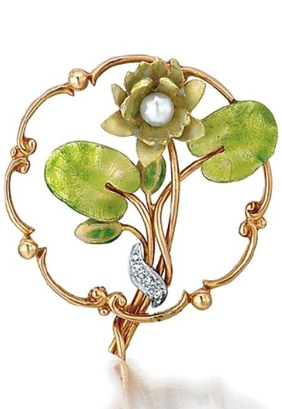 A rare American Art Nouveau enamel waterlily pin, ca. 1920's