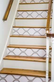 stairs with wallpaper