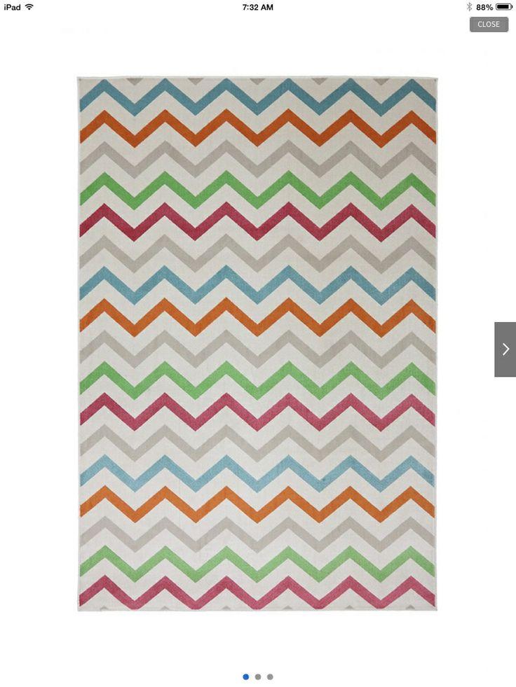 Chevron multi colored rug white turquoise grey orange green red hot ...