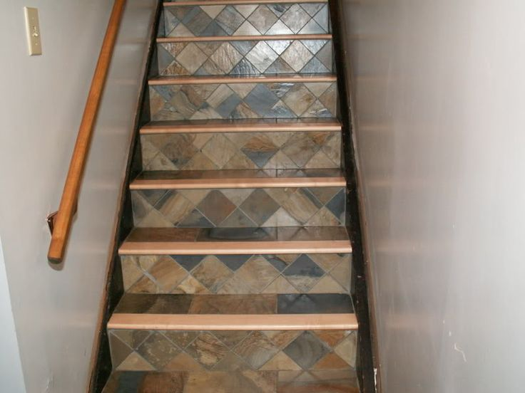 Tiled stair risers staircase ideas remodel pinterest - Stairs with tile and wood ...