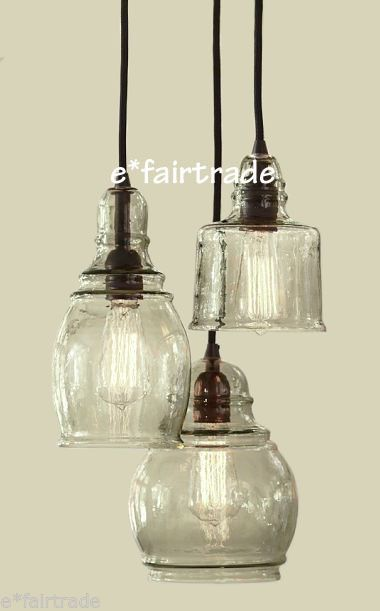 pottery barn paxton glass 3 light pendant chandelier new