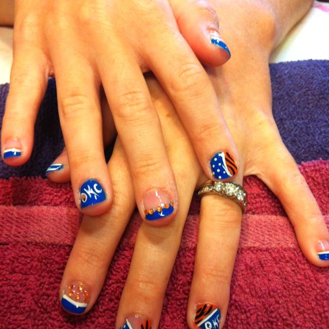 OKC Thunder nails-Here is an idea Tamara Goins