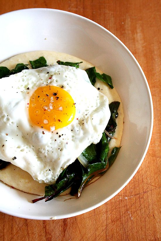 Fried Eggs And Collard Greens Over Polenta Recipes — Dishmaps