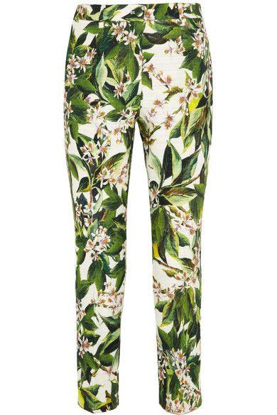 Shop now: Floral-print cotton-blend tweed pants