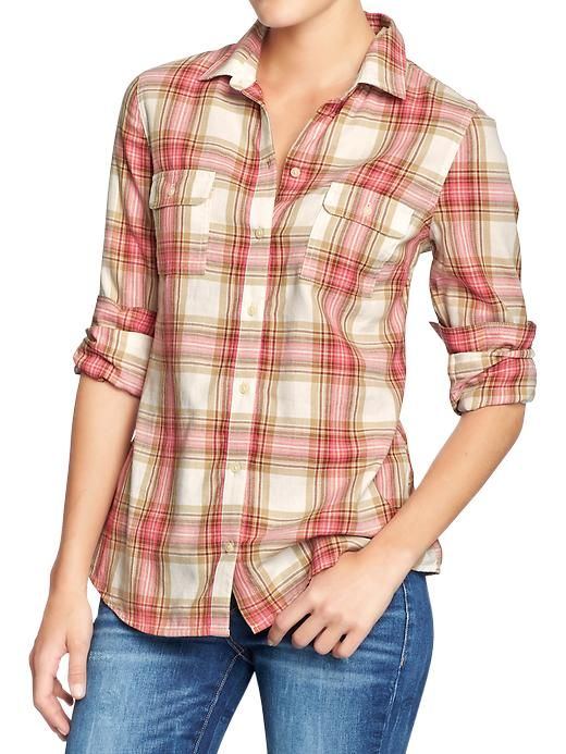 Old navy women 39 s plaid shirts cute compfy clothes i for Womens navy plaid shirt
