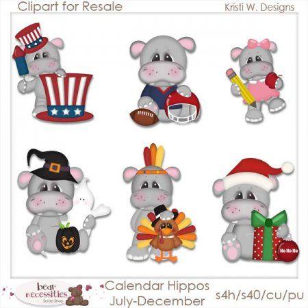 Calendar Hippos July- December Clipart for Resale
