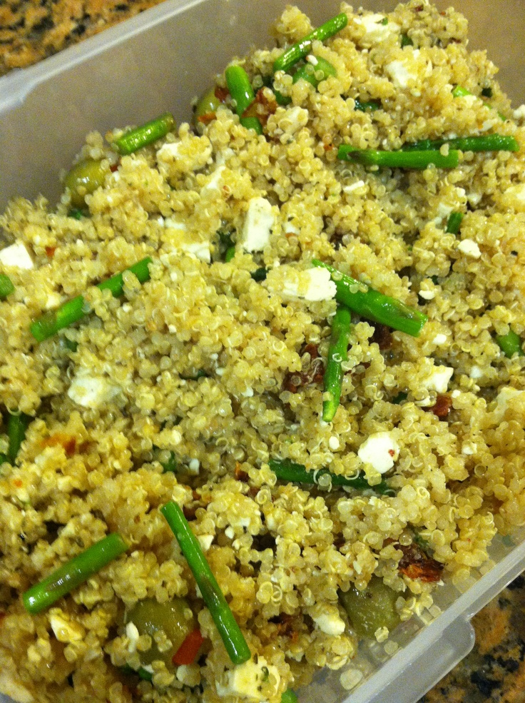 Quinoa, roasted asparagus, sun dried tomatoes, crumbled feta and green ...