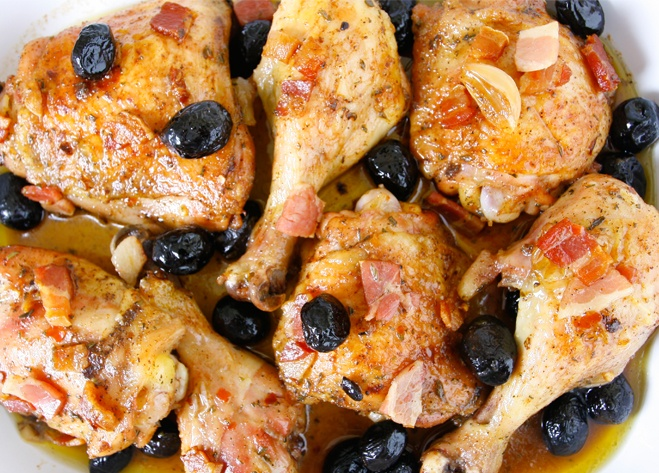 Roasted Chicken with Oil-Cured Moroccan Olives and Pancetta