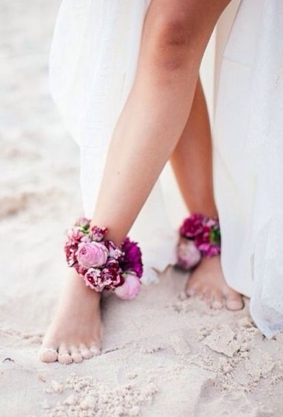 Love this.  Flowers on your ankles - Bohemian wedding