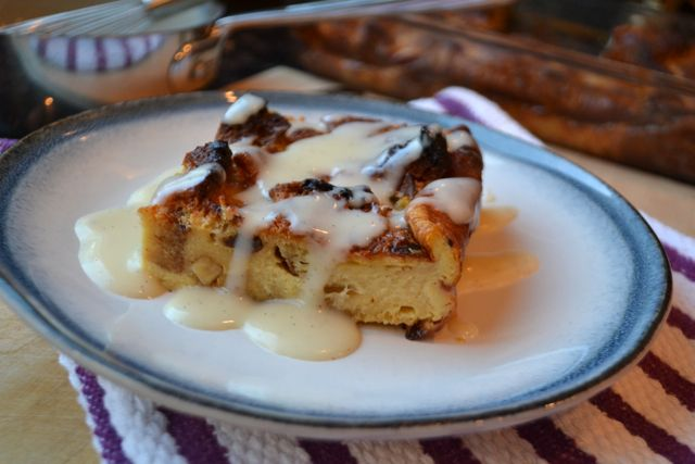 Eggnog Panettone Bread Pudding with Warm Mascarpone Rum Sauce
