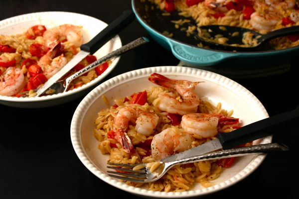 Baked Skillet Shrimp and Orzo | Foodie: Seafood and Fish | Pinterest