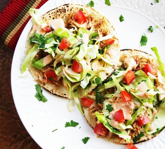 Chicken Tacos With Cilantro Slaw & Chipotle Sour Cream