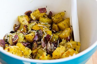 Savory Roasted White Sweet Potatoes Recipe with Red Onions, Rosemary ...