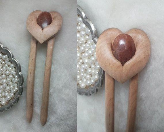 Sweetheart Stone Hair Fork in Maple by LarksHairSticks on Etsy